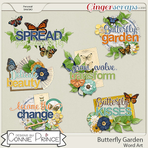 Butterfly Garden - Word Art Pack by Connie Prince