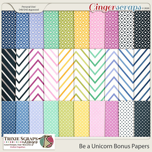 Be a Unicorn Bonus Papers by Trixie Scraps Designs
