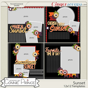 Sunset - 12x12 Templates (CU Ok) by Connie Prince