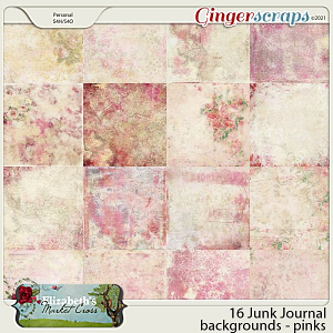 16 Junk Journal Papers - Pinks