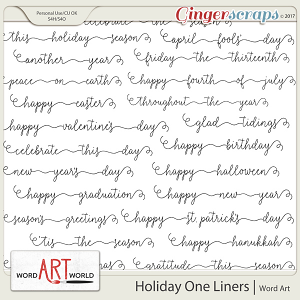 Holiday One Liners Word Art