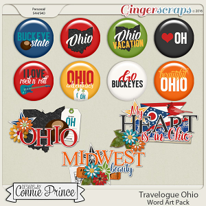 Travelogue Ohio - Word Art & Flair Pack