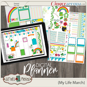 My Life March Planner Pieces - Scraps N Pieces
