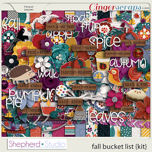 Fall Bucket List Digital Scrapbooking Kit by Shepherd Studio
