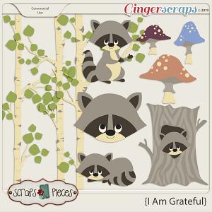 I am Grateful Raccoon CU Layered Templates - Scraps N Pieces