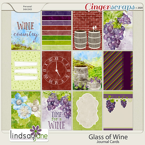 Glass of Wine Journal Cards by Lindsay Jane