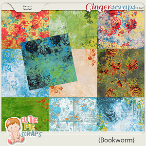 Bookworm  Shabby Chic Papers By Cutie Pie Scraps