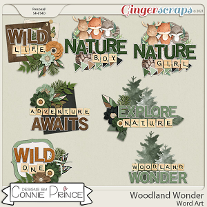 Woodland Wonder - Word Art Pack by Connie Prince