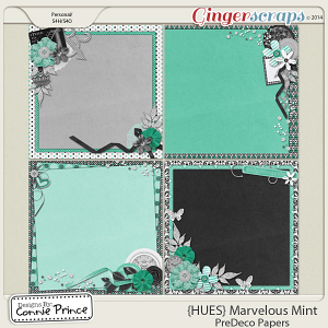 {HUES} Marvelous Mint - PreDeco Papers