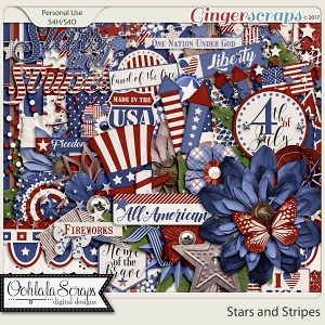 Stars and Stripes Digital Scrapbook Kit