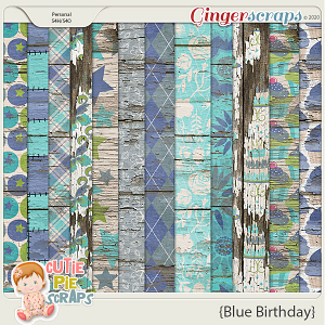 Blue Birthday Wood Papers