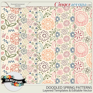 Doodled Spring Patterns - Layered Templates & Editable Vector by Lisa Rosa Designs