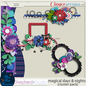 Magical Days and Nights Clusters for Digital Scrapbooking by Shepherd Studio