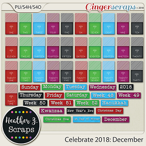 Celebrate 2018: December WORD BITS & DATES by Heather Z Scraps