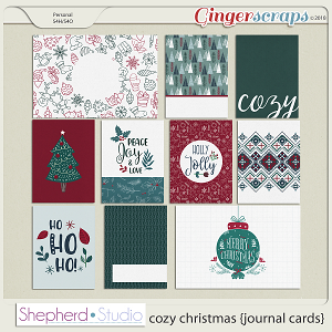 Cozy Christmas Journal Cards for Pocket Scrapbooking by Shepherd Studio