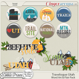 Travelogue Utah - Word Art & Flair Pack