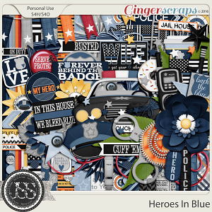 Heroes In Blue Digital Scrapbooking Kit