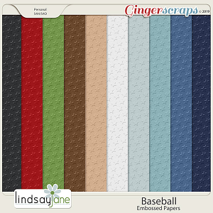 Baseball Embossed Papers by Lindsay Jane