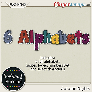 Autumn Nights ALPHABETS by Heather Z Scraps
