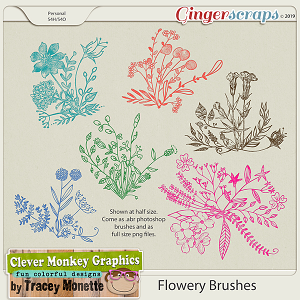 Flowery Brushes by Clever Monkey Graphics