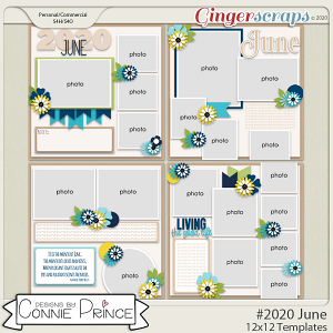 #2020 June - 12x12 Template Pack (CU Ok) by Connie Prince