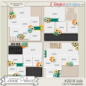 #2018 July - 12x12 Template Pack (CU Ok) by Connie Prince