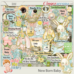 New Born Baby Page Kit By Cutie Pie Scraps