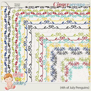 4th of July Penguins-Borders