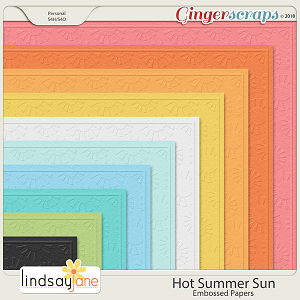 Hot Summer Sun Embossed Papers by Lindsay Jane