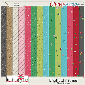 Bright Christmas Glitter Papers by Lindsay Jane
