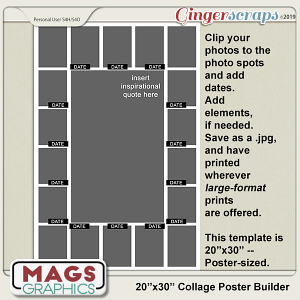 "20""x30"" Collage Poster Template by MagsGraphics"