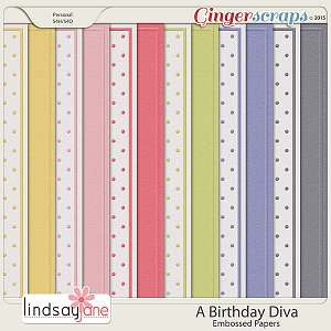 A Birthday Diva Embossed Papers by Lindsay Jane