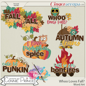 Whoo Loves Fall?  - Word Art Pack by Connie Prince & Adrienne Skelton