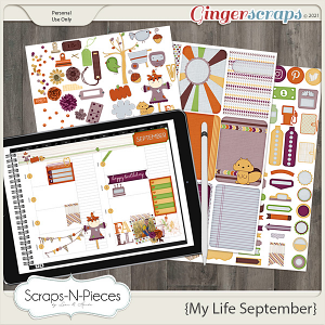 My Life September Planner Pieces by Scraps N Pieces