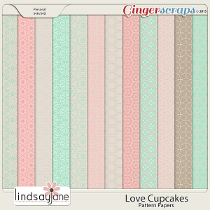 Love Cupcakes Pattern Papers by Lindsay Jane