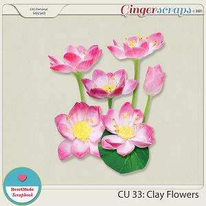 CU 33- Clay flowers - pink lotus