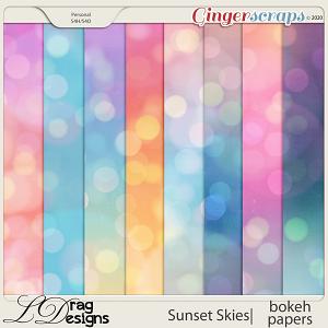 Sunset Skies: Bokeh Papers by LDragDesigns