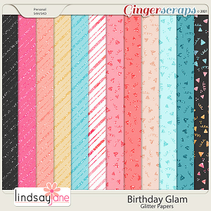 Birthday Glam Glitter Papers by Lindsay Jane