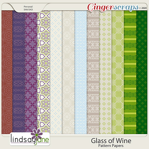 Glass of Wine Pattern Papers by Lindsay Jane