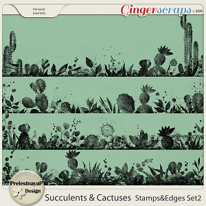 Succulents and Cactuses Stamps & Edges Set2