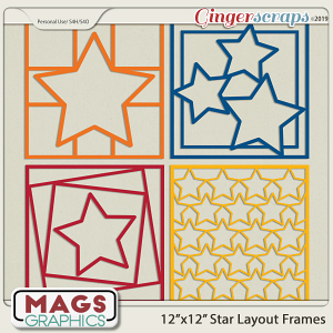 12x12 Star Layout Frame Templates by MagsGraphics