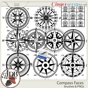 Heritage Resource - Compass Face Stamps & Brushes by ADB Designs