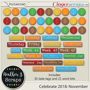 Celebrate 2018: November WORD BITS & DATES by Heather Z Scraps
