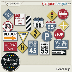 Road Trip STREET SIGNS by Heather Z Scraps