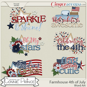 Farmhouse 4th of July - Word Art Pack by Connie Prince