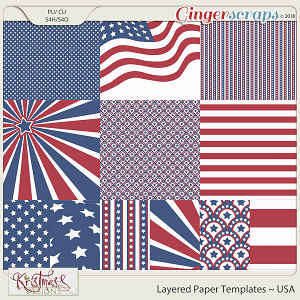 CU Layered Paper Templates ~ USA