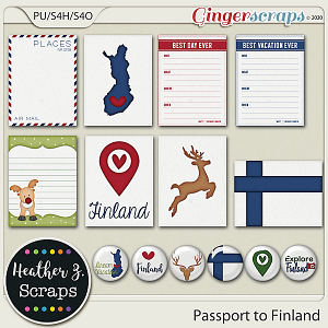 Passport to Finland JOURNAL CARDS & FLAIRS by Heather Z Scraps
