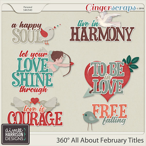 360°Life All About February Word Art Titles by Aimee Harrison