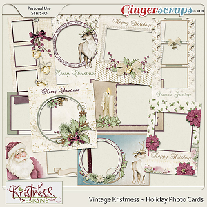 Vintage Kristmess Holiday Photo Cards
