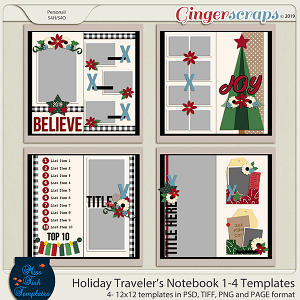 Holiday Travelers Notebook 1-4 Templates by Miss Fish